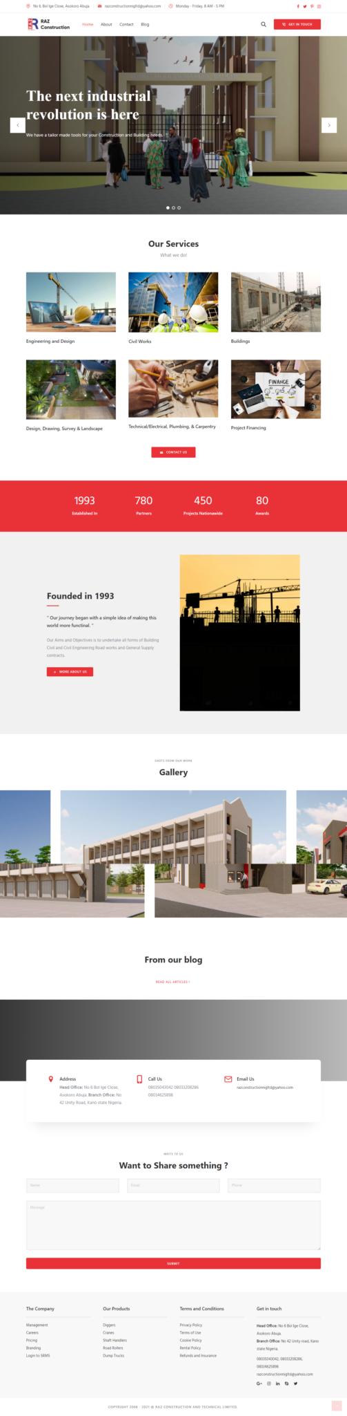 Raz Construction website
